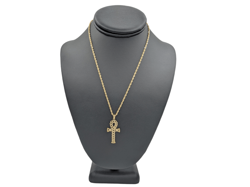 14K Full cz Cross Pendant  With Hollow Rope Chain  by GD ™ - Gold Drip Jewelry