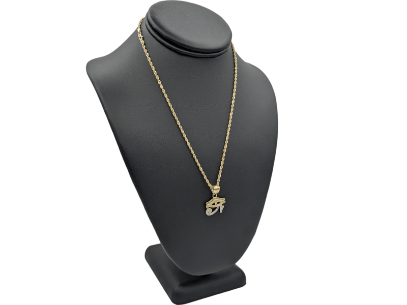 14K Fatima Eye Pendant cz Stones With Hollow Rope Chain  by GD ™ - Gold Drip Jewelry