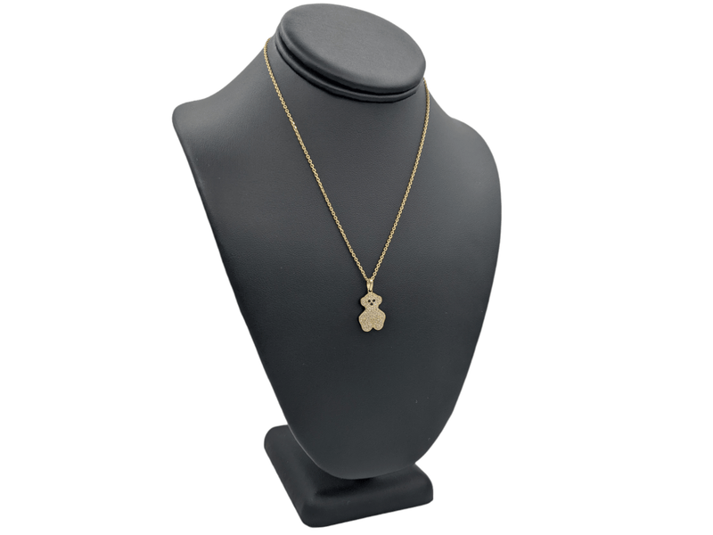 14K Teddy Bear Pendant cz Stones With Solid Necklace Chain  by GD ™ - Gold Drip Jewelry