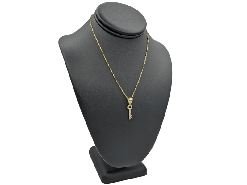 14K Key Pendant cz Stones With Solid Necklace Chain  by GD ™ - Gold Drip Jewelry