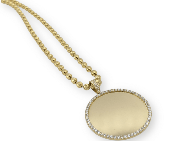 14K Picture Pendant With Solid Moon Cut Chain By GD - Gold Drip Jewelry