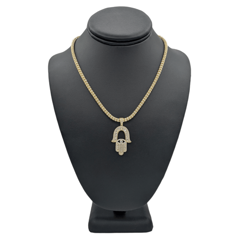 14K Hamsa Pendant Baguette with Moon iced Chain Yellow Gold by GD ™ - Gold Drip Jewelry