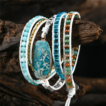 Load image into Gallery viewer, 5 Layers Mixed Natural Stones Leather Bracelet