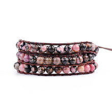 Load image into Gallery viewer, Leather Wrap Natural Stone Bracelets