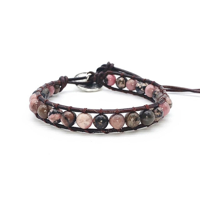 Leather Wrap Natural Stone Bracelets
