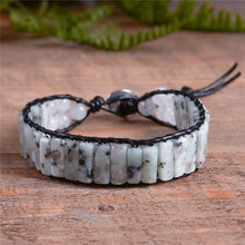 Load image into Gallery viewer, Vintage Stone Leather Wrap Bracelet