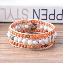 Load image into Gallery viewer, Handmade Boho Natural Stones Beads Leather Wrap Bracelet