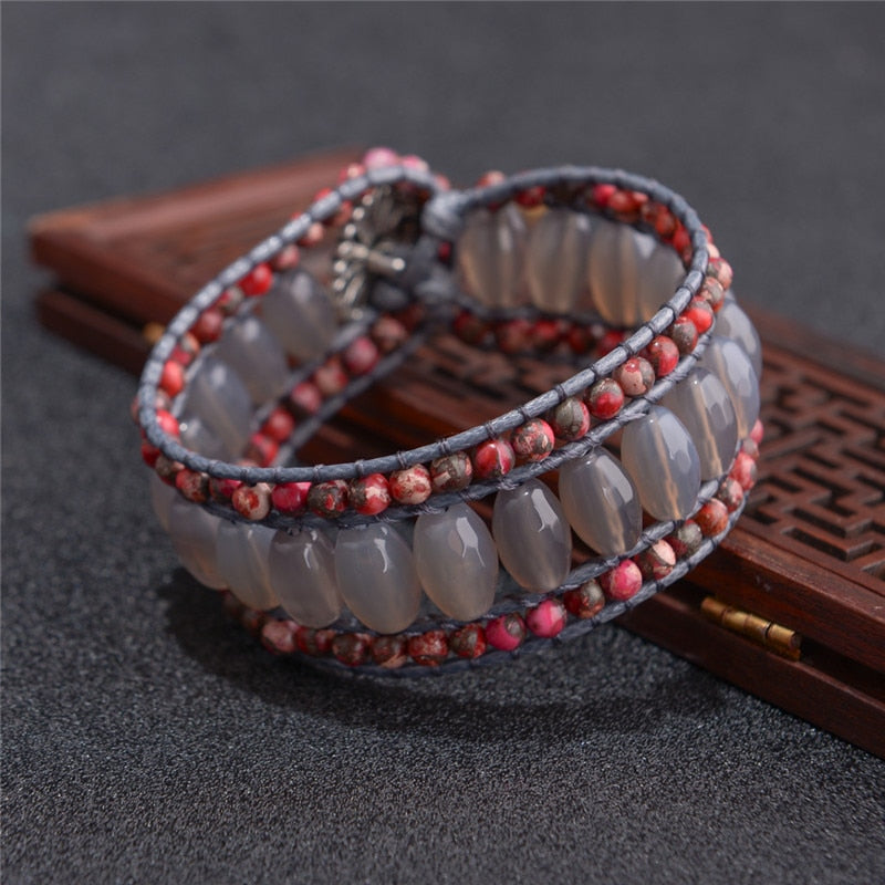 Red and Brown Natural Stones Bracelet
