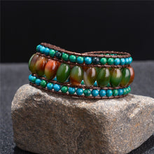 Load image into Gallery viewer, Natural Stone with 3 Layers Leather Wrap Bracelet