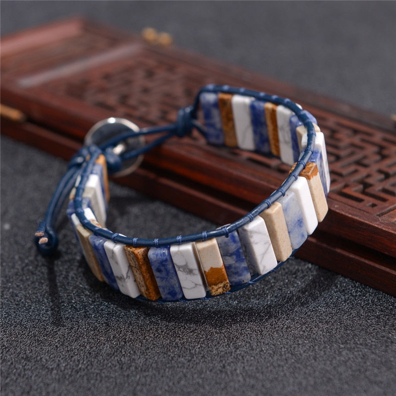 Vintage Leather Wrap with Natural Stones Bracelet