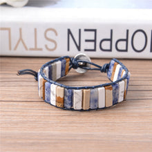 Load image into Gallery viewer, Vintage Leather Wrap with Natural Stones Bracelet