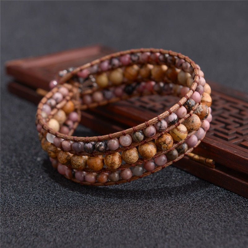 Brown Natural Stones Leather Wrap Bracelets Brown and Blue Natural Stones Leather Wrap Bracelets