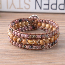Load image into Gallery viewer, Brown Natural Stones Leather Wrap Bracelets Brown and Blue Natural Stones Leather Wrap Bracelets