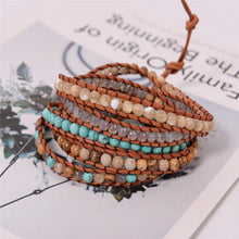 Load image into Gallery viewer, Handmade 5 Strands Natural Stone Bead Leather Bracelet