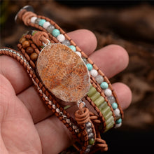Load image into Gallery viewer, 5X Leather Wrap Beaded Bracelet
