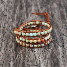 Load image into Gallery viewer, Vintage Leather Bracelets with Natural Stone