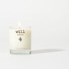 Will Kiss clear glass candle, scent is fresh cut roses
