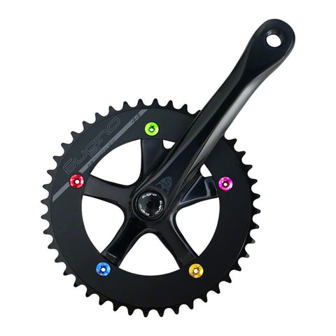 "Sugino Cool Messenger Single Speed 165mm 46t 1/8"" 130mm Crankset: Cool Black, Bottom Bracket Not Included"