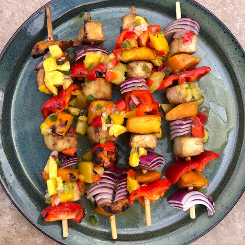 Grilled Mango Mojo Tofo Skewers with Sweet Potato Wedges | Gluten Free