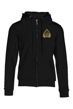 Load image into Gallery viewer, Tell Tale Heart Planchette Design on front right chest of black zip hoodie.