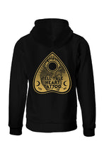Load image into Gallery viewer, Tell Tale Heart Planchette Design on back of black hoodie.