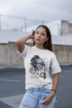 Load image into Gallery viewer,  Two Headed Lady Monster on white t-shirt worn by female model. Black and white with gold tears.