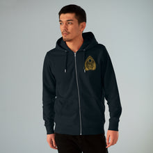 Load image into Gallery viewer, Tell Tale Heart Planchette Design on front of black hoodie worn by male model.