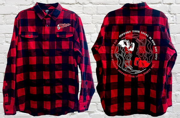 Red Flannel Ying-Yang Skull
