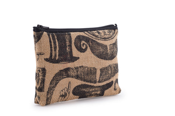 Hessian / Jute Travel Bag - Moustache Print