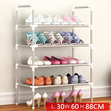 Load image into Gallery viewer, Simple Multi Layer Shoe Rack Nonwovens Easy Assemble Storage Shelf Metal Standing  DIY Shoes Cabinet Living Room Furniture