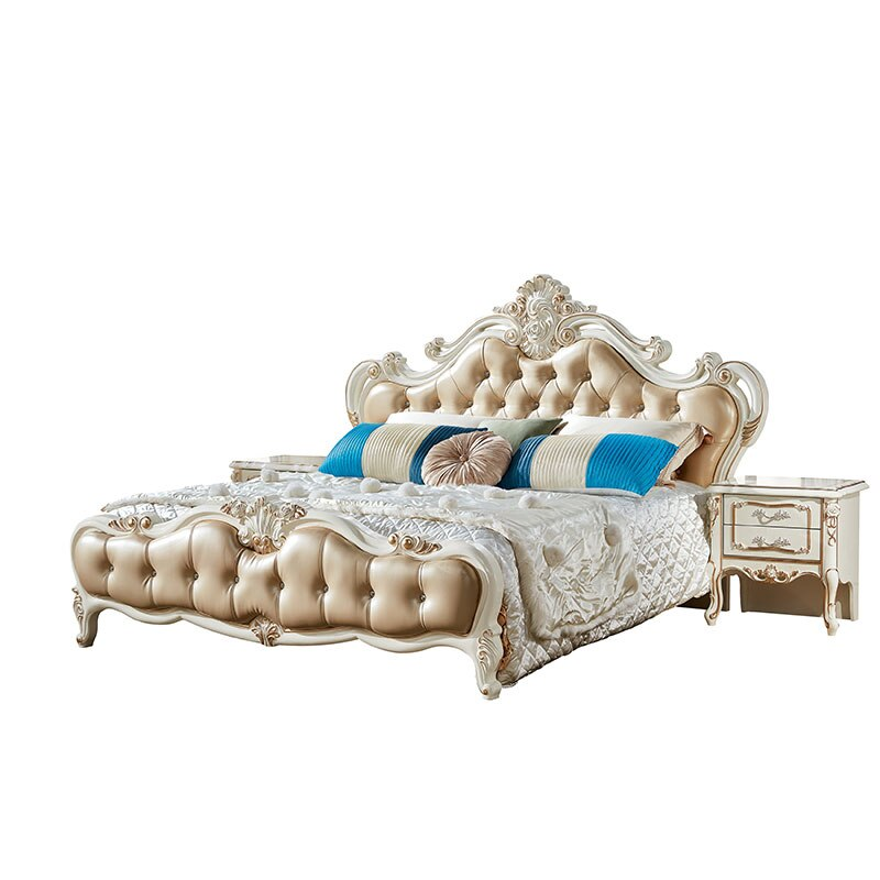 Classic luxury bed Bedroom Furniture wooden bed frame King and Queen size bed frame wooden bed Set (King size bed King)