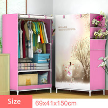 Load image into Gallery viewer, 3D Cartoon Pattern Folding Cloth Wardrobe Home Bedroom Clothes Storage Cabinet DIY Assembly Fabric Wardrobe Closet Furniture