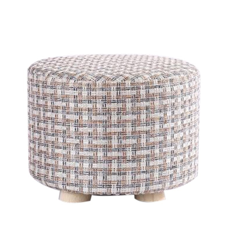 Small Stool Wooden Ottomans with Linen Cotton Cover Dining Benches Home Work Furniture Sofa Animal Round Armchair (White)