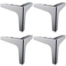 Load image into Gallery viewer, 4 Pieces Of Triangular Metal Furniture Legs Support Silver Coffee Table Legs Sofa Legs Furniture Accessories Foot Bed Riser (silver)