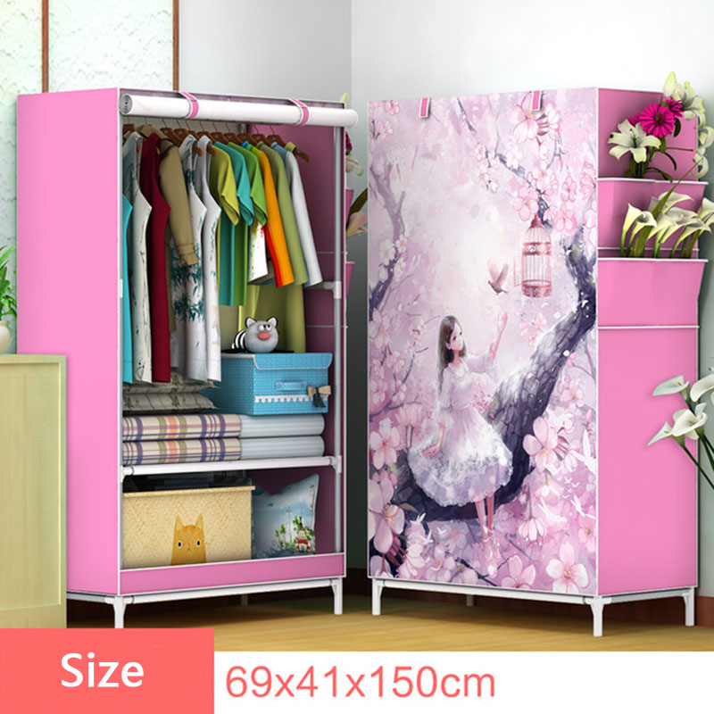3D Cartoon Pattern Folding Cloth Wardrobe Home Bedroom Clothes Storage Cabinet DIY Assembly Fabric Wardrobe Closet Furniture