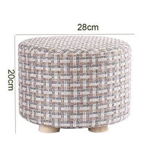 Load image into Gallery viewer, Small Stool Wooden Ottomans with Linen Cotton Cover Dining Benches Home Work Furniture Sofa Animal Round Armchair