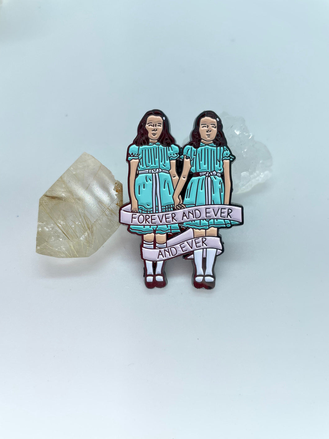 The Shining Twins Pin, Come Play With Us, 1980's Kubrik Movie Enamel Pin, Forever and Ever