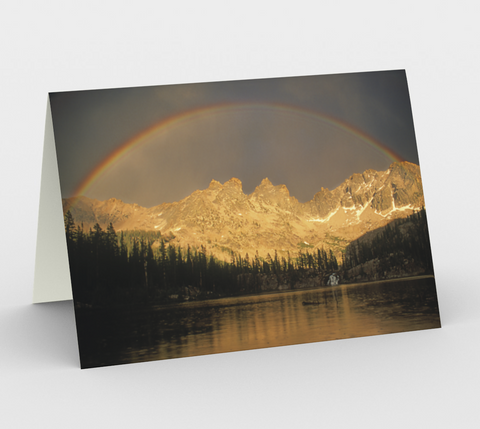 Nature Greeting Card, 5x7 - Rainbow Over Middle Cramer Lake