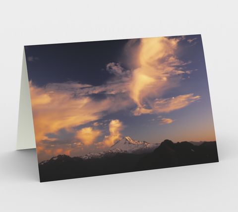 Nature Greeting Card, 5x7 - Mt Baker Sunset