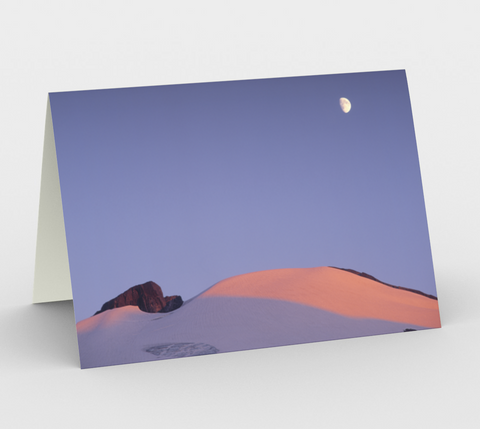 Nature Greeting Card, 5x7 - Moon Over Mt Ruth