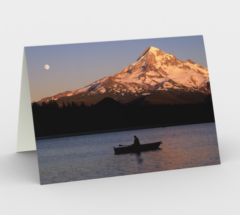 Nature Greeting Card, 5x7 - Mt Hood Rowboat and Lost Lake