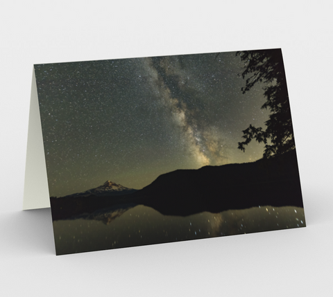 Nature Greeting Card, 5x7 - Milky Way with Mt Hood and Lost Lake