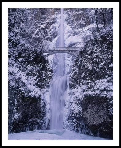 Limited ed. Nature Print - Multnomah Falls in Winter, OR