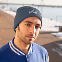The Simple StartUp - Knit Beanie (white text)