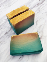Load image into Gallery viewer, This soap has a fresh lemony scent capped off with lingering herbaceous undertones. It is sweet, bright and fruity.