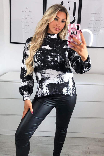 Black Printed High Neck Top