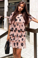 Dusty Pink Floral Printed Tiered Dress