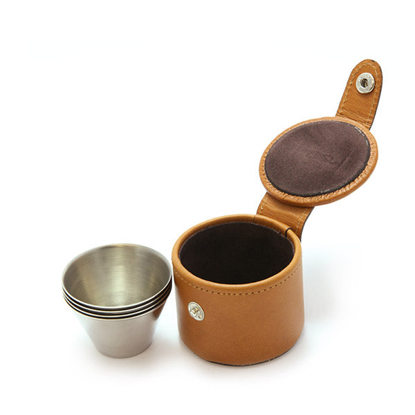 4 Small Cups and Leather Case