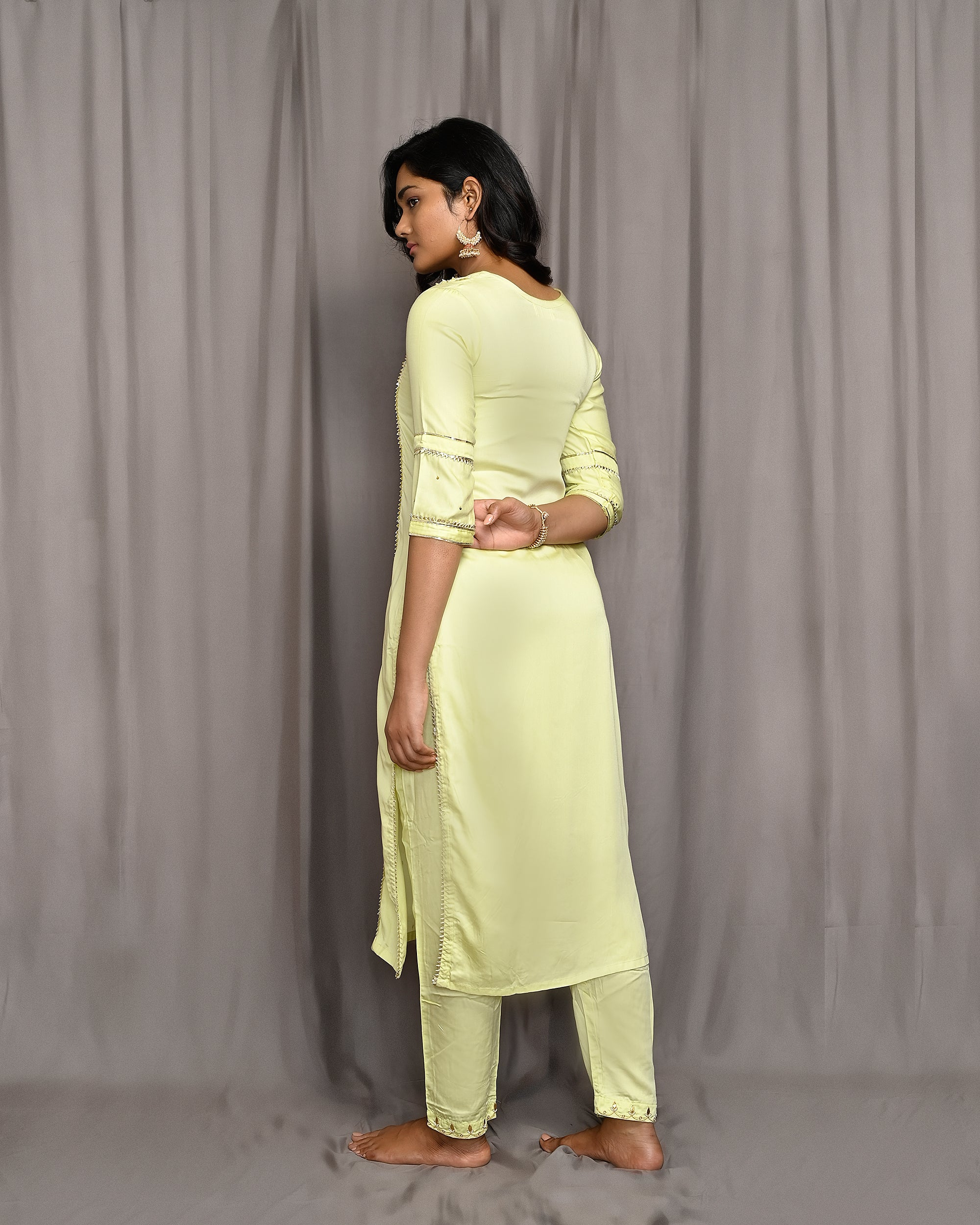 Lemon Yellow Embroidered Silk Suit with Kota Silk Scalloped Dupatta
