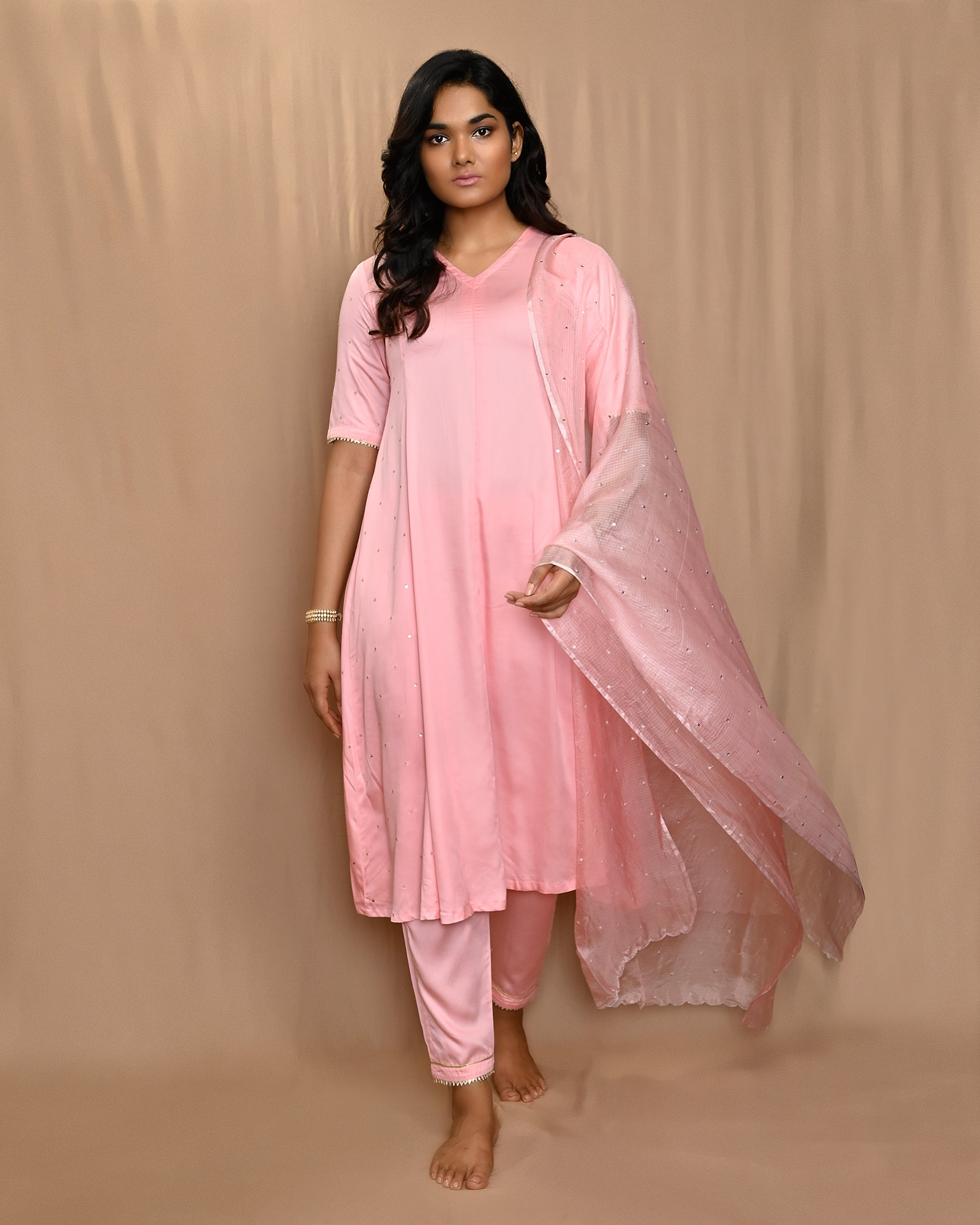 Pink Anarkali Set with Kota Silk Scalloped Dupatta